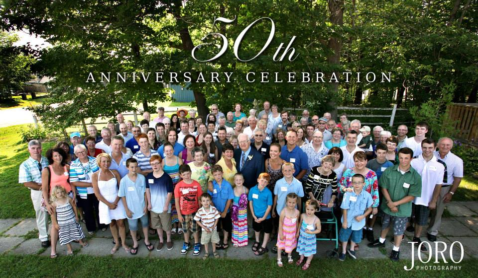 Group photo of attendees for Mom and Dad's 50th