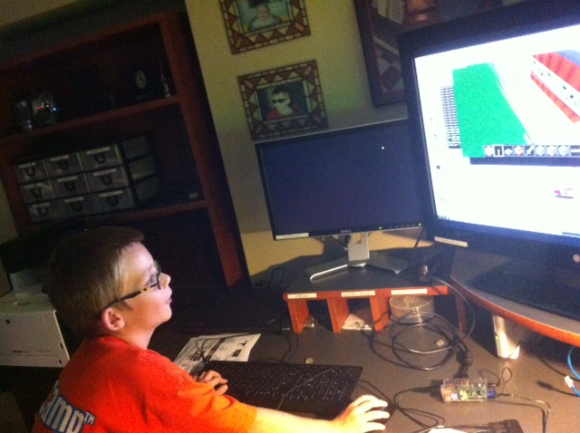 Jamie playing Minecraft on the PI